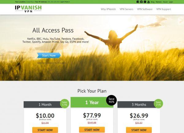 Website ipvanish.com des VPN Anbieters IPVanish