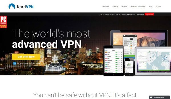 Website nordvpn.com des VPN Anbieters NordVPN