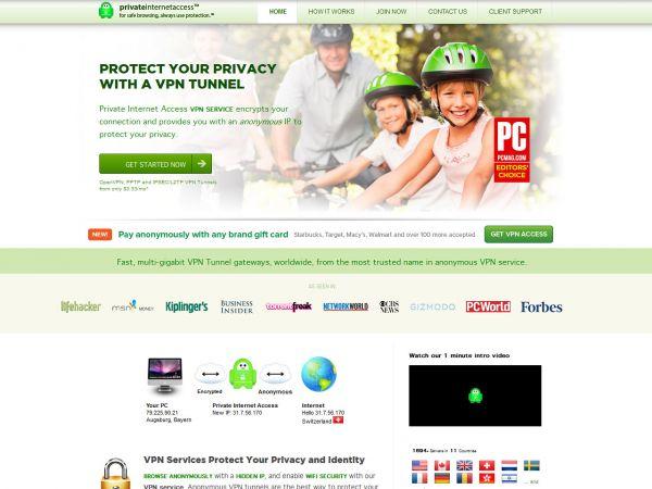 Website privateinternetaccess.com des VPN Anbieters PrivateInternetAccess.com